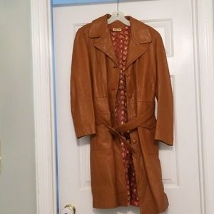 Light brown leather trench coat